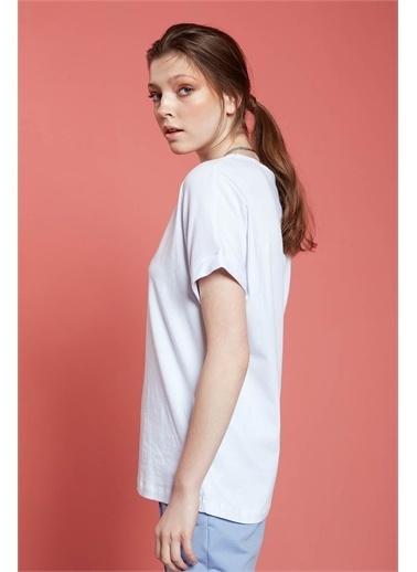 Mizalle Mizalle Basic T-Shirt,Byz,Xl Beyaz